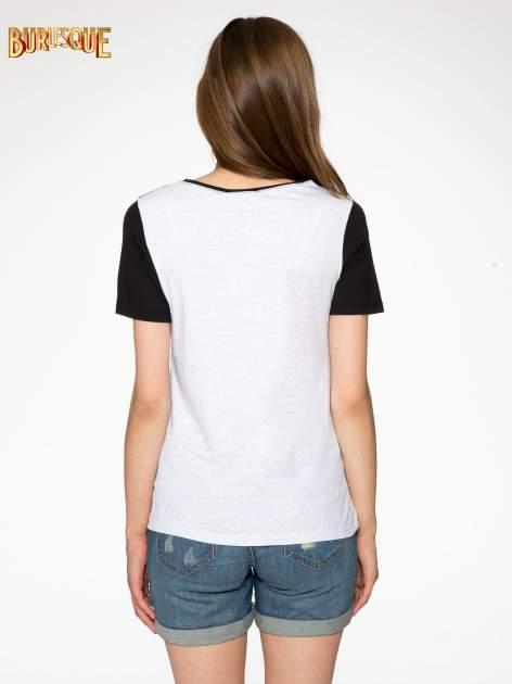 Melanżowo-czarny t-shirt z nadrukiem FASHION 88                                  zdj.                                  4