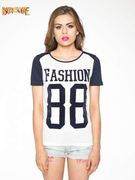 Melanżowo-granatowy t-shirt z nadrukiem FASHION 88                                  zdj.                                  11
