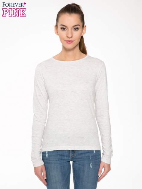 Melanżoworóżowa bawełniana bluzka typu basic z długim rękawem                                  zdj.                                  1