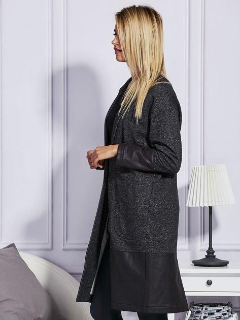 Melanżowy płaszcz ze skórzanymi wstawkami ciemnoszary                                  zdj.                                  5