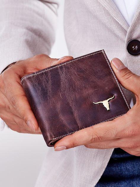 Męski portfel brązowy ze skóry