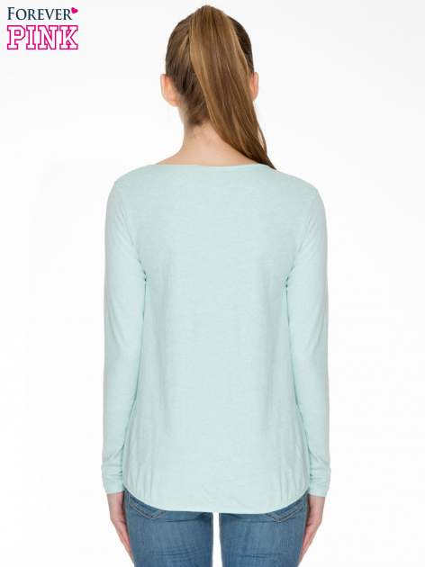Miętowa bawełniana bluzka z gumką na dole                                  zdj.                                  4