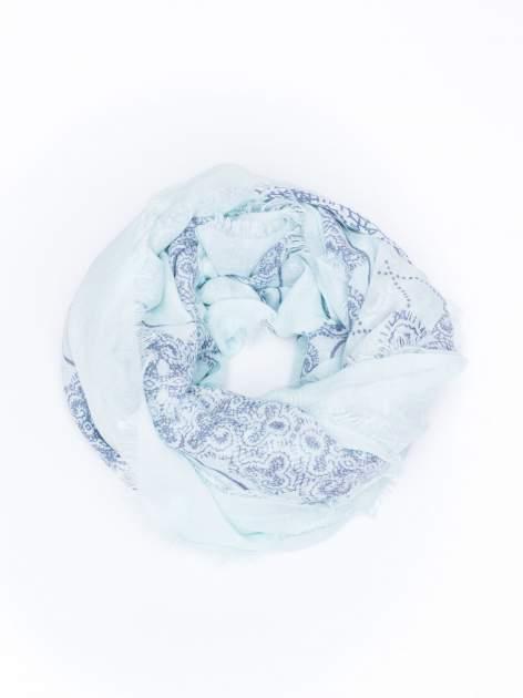 Miętowa bawełniana chustka w orientalny wzór                                  zdj.                                  2