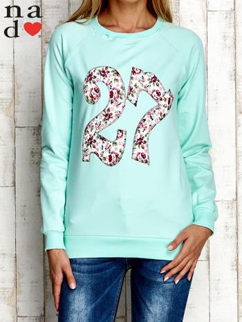 Miętowa bluza z cyfrą 27                                  zdj.                                  1