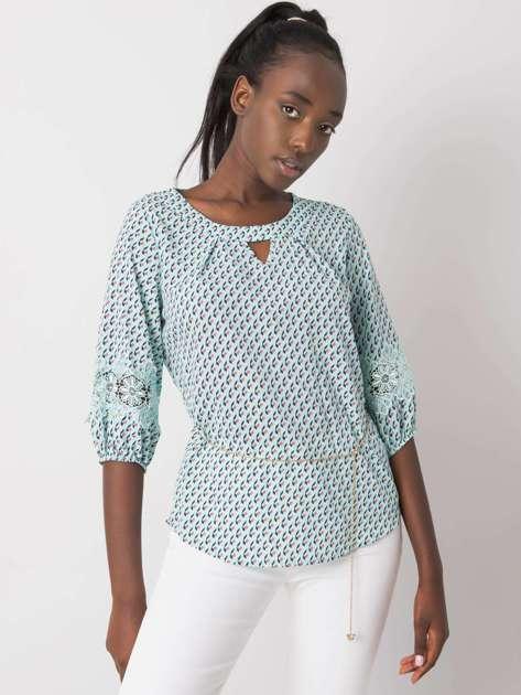 Miętowa bluzka we wzory Jazmin