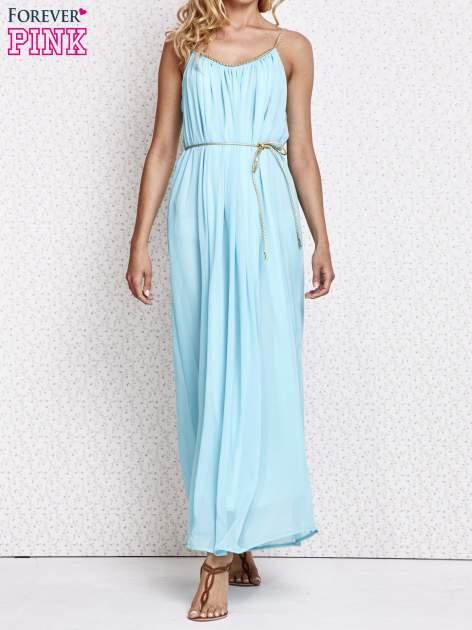 Miętowa grecka sukienka maxi ze złotym paskiem