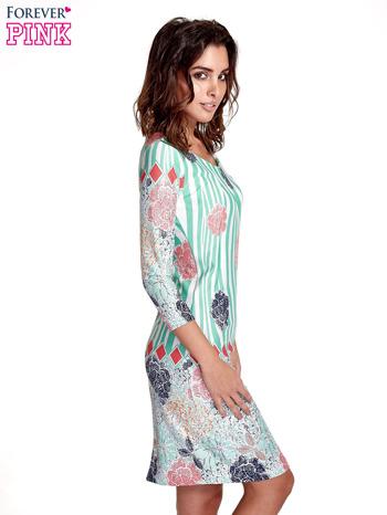 Miętowa sukienka w kwiatowe i geometryczne wzory                                  zdj.                                  3