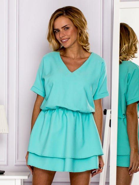 Miętowa sukienka z gumką w pasie                                   zdj.                                  1
