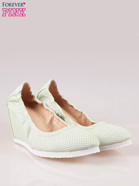 Miętowe siateczkowe buty textile Magical na koturnie