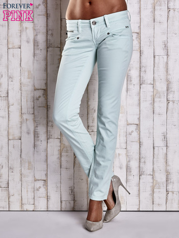 Miętowe spodnie ze stretchem                                  zdj.                                  1