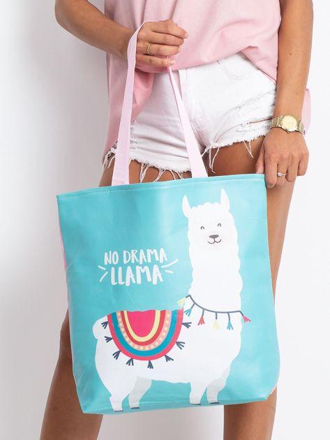 Miętowo-różowa torba z nadrukiem                              zdj.                              1