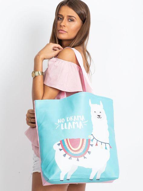 Miętowo-różowa torba z nadrukiem                              zdj.                              5