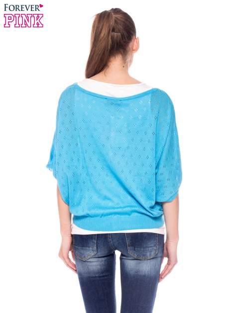 Miętowy ażurowy sweterek z krótkim rękawem                                  zdj.                                  4