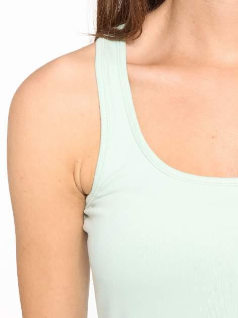 Miętowy jednolity top na szerokich ramiączkach                                  zdj.                                  6