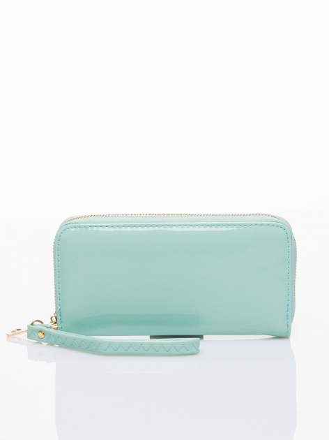 Miętowy lakierowany portfel z rączką                                  zdj.                                  1