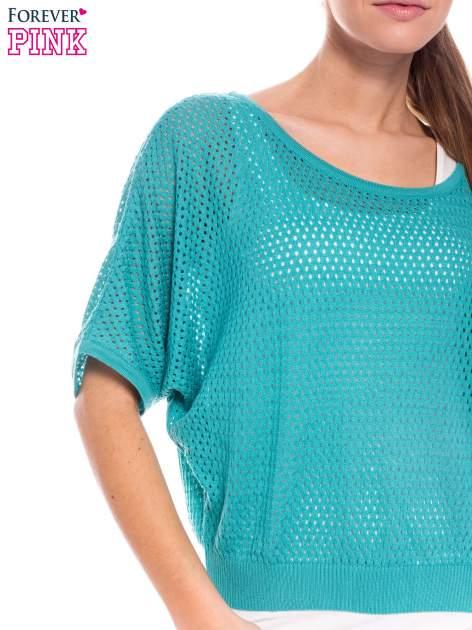 Miętowy siateczkowy sweter oversize                                  zdj.                                  4