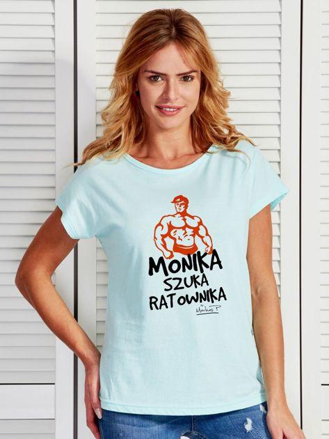 Miętowy t-shirt damski MONIKA SZUKA RATOWNIKA by Markus P                                  zdj.                                  1