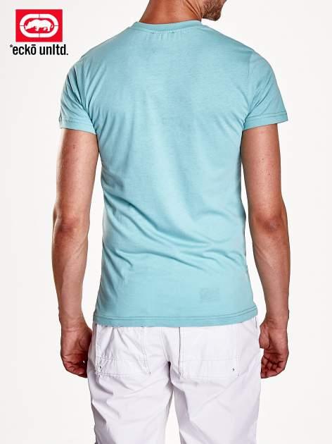 Miętowy t-shirt męski z białym logiem                                  zdj.                                  6