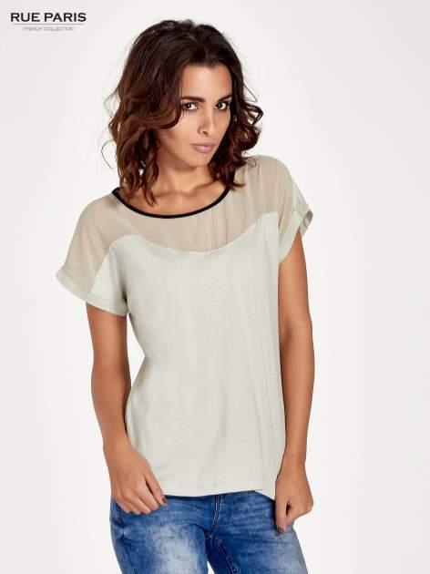 Miętowy t-shirt z siateczkową górą i kontrastową lamówką                                  zdj.                                  1
