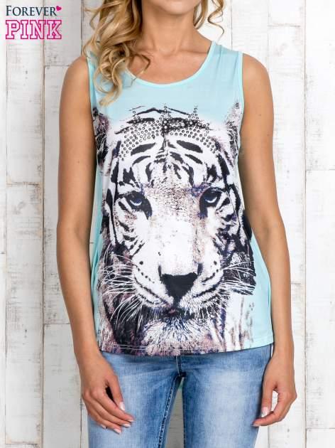 Miętowy top z motywem tygrysa