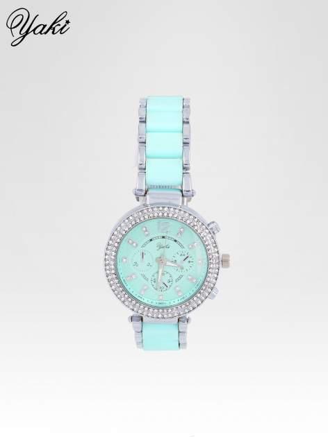 Miętowy zegarek na bransolecie z cyrkoniami na tarczy