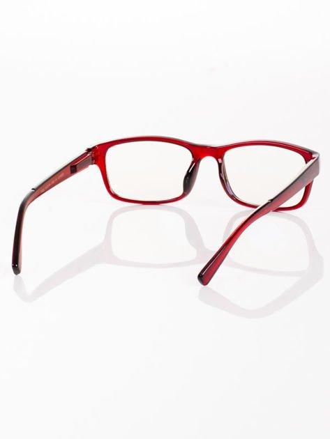 Modne czerwone okulary zerówki KUJONKI NERDY; soczewki ANTYREFLEKS+system FLEX na zausznikach                              zdj.                              5