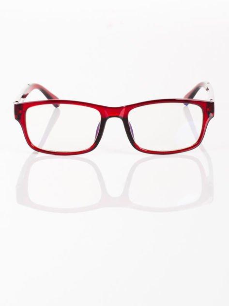 Modne czerwone okulary zerówki KUJONKI NERDY; soczewki ANTYREFLEKS+system FLEX na zausznikach                              zdj.                              2
