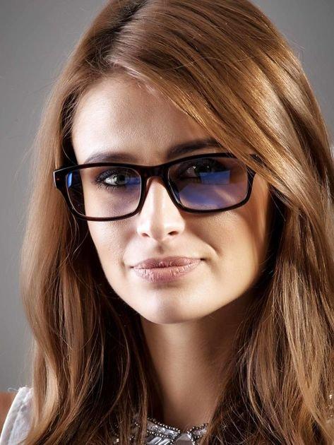 Modne czerwone okulary zerówki KUJONKI NERDY; soczewki ANTYREFLEKS+system FLEX na zausznikach                              zdj.                              1
