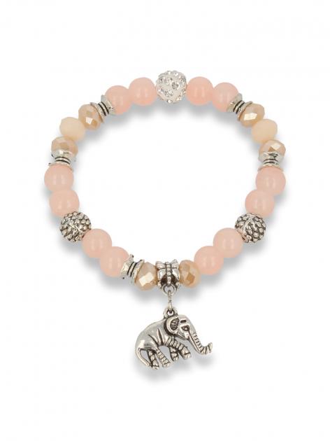 Morelowo  - srebrna Bransoletka koralikowa