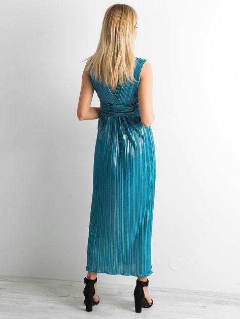 Morska plisowana sukienka maxi                              zdj.                              2