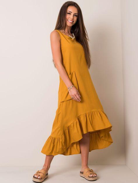 Musztardowa sukienka Diana RUE PARIS