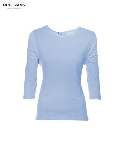 Niebieska basicowa bluzka z rękawem 3/4                                  zdj.                                  5