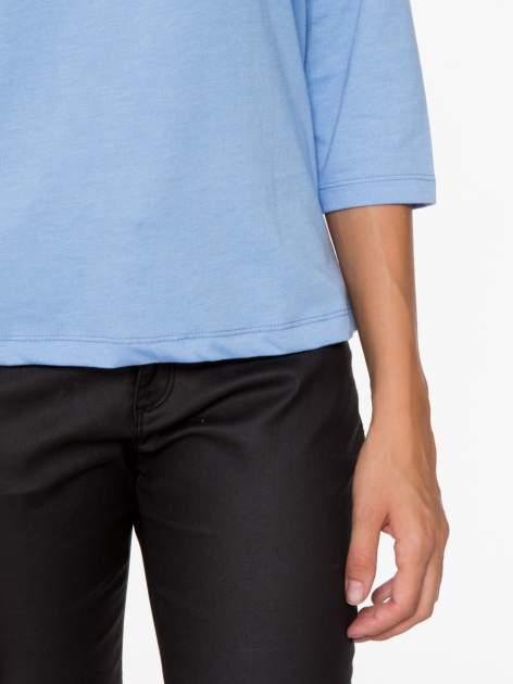 Niebieska basicowa bluzka z rękawem 3/4                                  zdj.                                  7