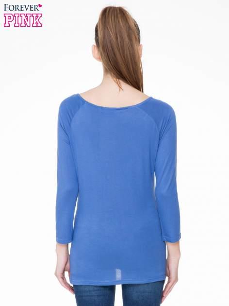 Niebieska basicowa gładka bluzka z rękawem 7/8                                  zdj.                                  4