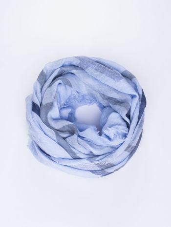 Niebieska bawełniana chustka z frędzelkami