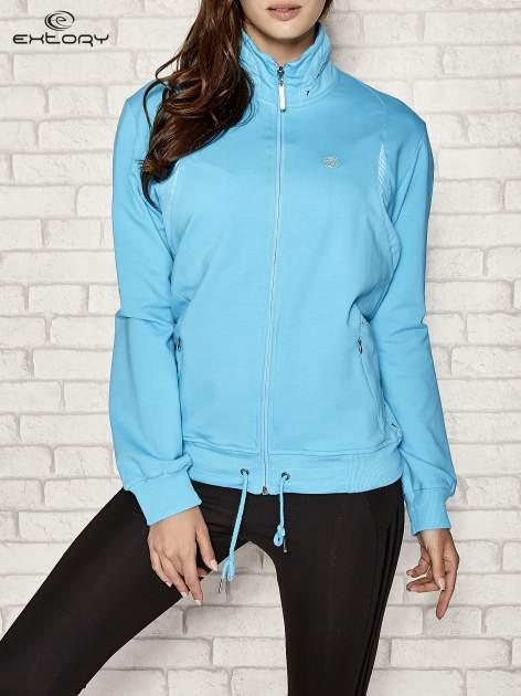 Niebieska bluza sportowa fitness ze wstawkami                                  zdj.                                  1