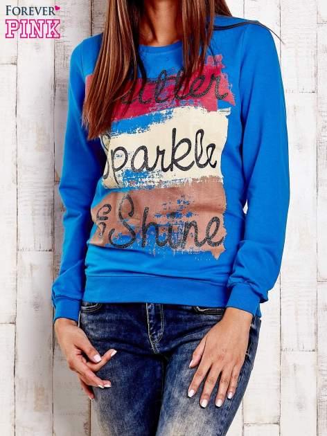 Niebieska bluza z napisem GLITTER SPARKLE SHINE