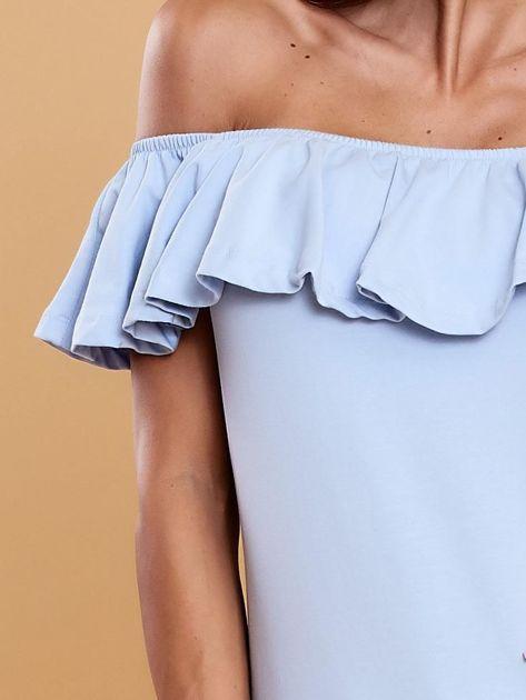 Niebieska bluzka hiszpanka z falbaną                              zdj.                              5
