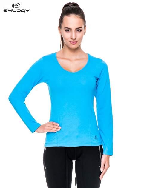 Niebieska bluzka sportowa z dekoltem V