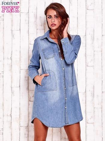 Niebieska denimowa sukienka koszula z kieszeniami                                  zdj.                                  4