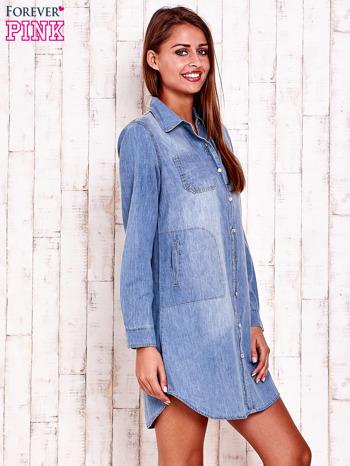 Niebieska denimowa sukienka koszula z kieszeniami                                  zdj.                                  3