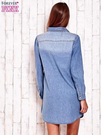 Niebieska denimowa sukienka koszula z kieszeniami                                  zdj.                                  2