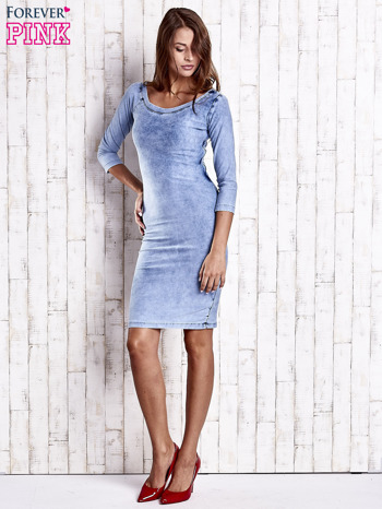 Niebieska denimowa sukienka z dekoltem w łódkę                                  zdj.                                  4