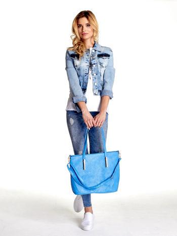 Niebieska fakturowana torba shopper bag                                  zdj.                                  6
