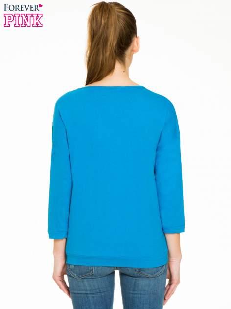 Niebieska gładka bluzka z luźnymi rękawami 3/4                                  zdj.                                  4