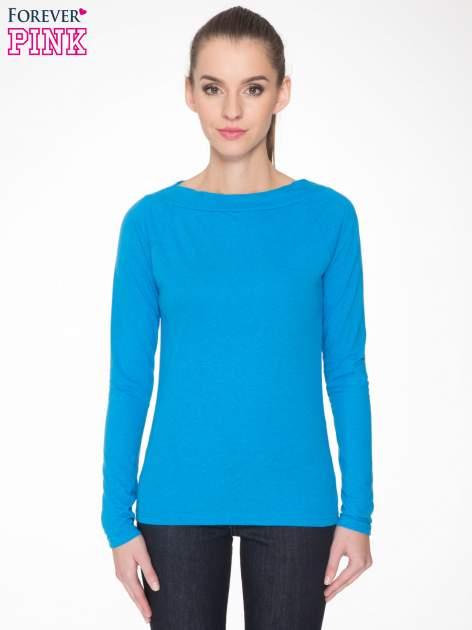 Niebieska gładka bluzka z reglanowymi rękawami