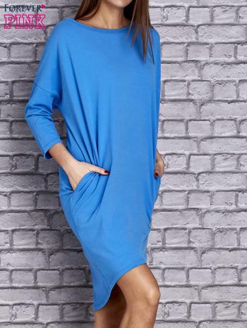 Niebieska gładka sukienka oversize                                  zdj.                                  3