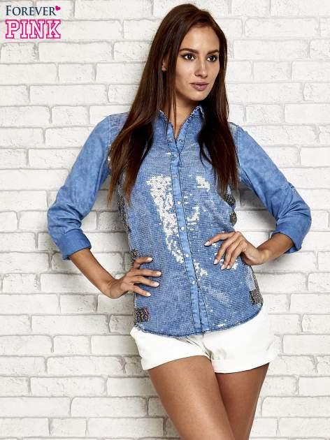 Niebieska jeansowa koszula z cekinami                                  zdj.                                  3