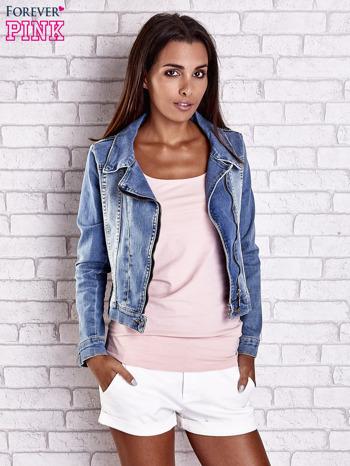 Niebieska jeansowa kurtka o kroju ramoneski                                  zdj.                                  2
