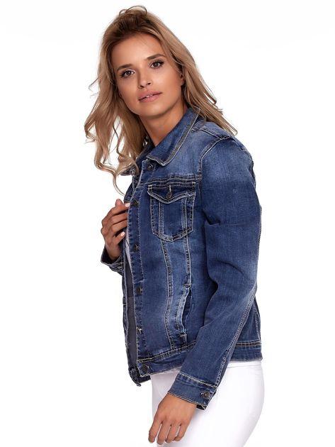 Niebieska jeansowa kurtka z kołnierzykiem PLUS SIZE                              zdj.                              5